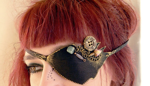 Eye patch leather eye patch pirate eyewear all seeing by Elyseeart, $33.00