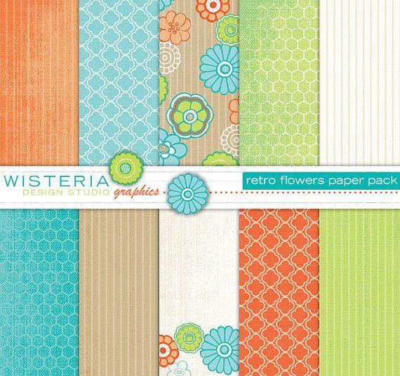 Retro Flowers papier Pack - Teal, citron vert, Orange, Ivoire - pour une utilisation personnelle & Commercial - conceptions numériques