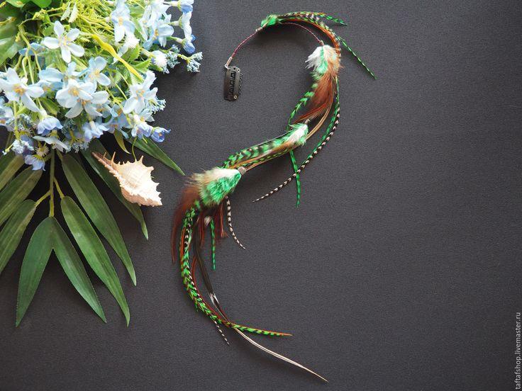 Заколка для волос - Очарование леса, перья в волосы, зелёный - полосатый, перо, перья