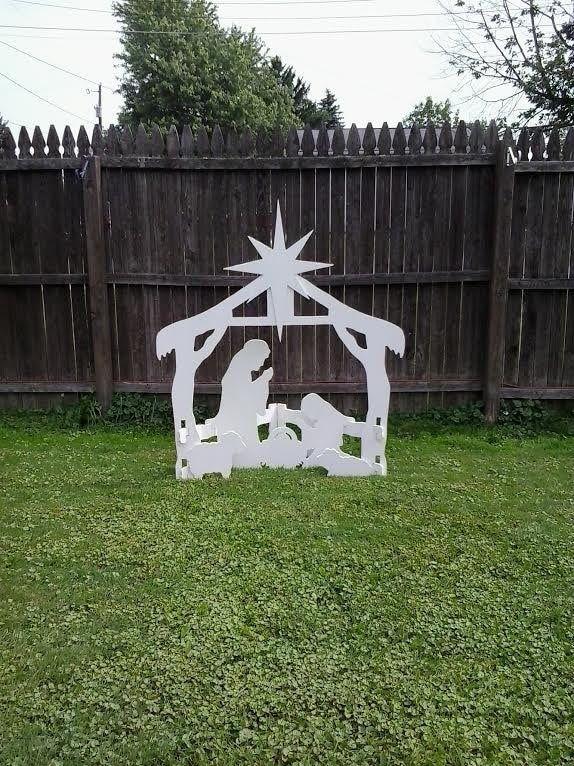Christmas Outdoor Nativity Scene Outdoor Wood Yard Art Lawn Decoration