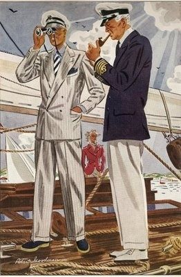 1937 men's summer yacht fashion Laurence Fellows - 1930s men's clothing and fashion.