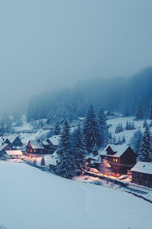"storyofthislife: "" Snow, wood houses, winter …"