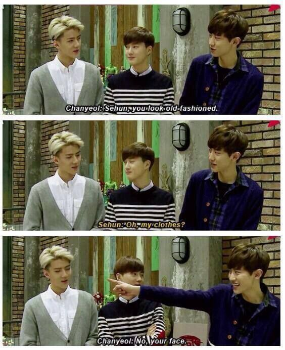 Haha Chanyeol is so mean lol and Suho is just like: Ya, did you really have to say that -,-' | EXO