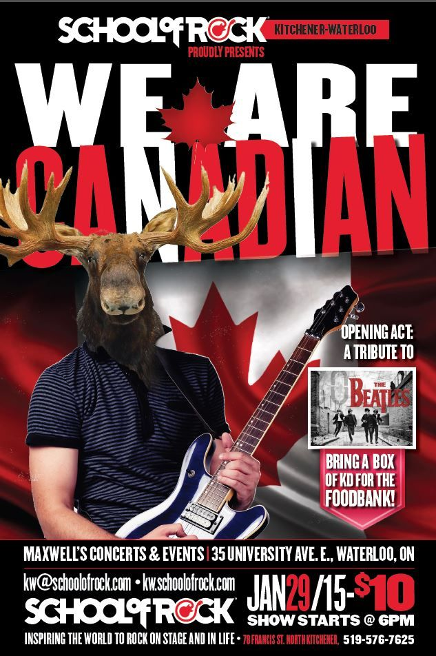 We are Canadian Show Poster - January 29, 2015.  Maxwell's Concerts and Events.  Performance Program Show #5.