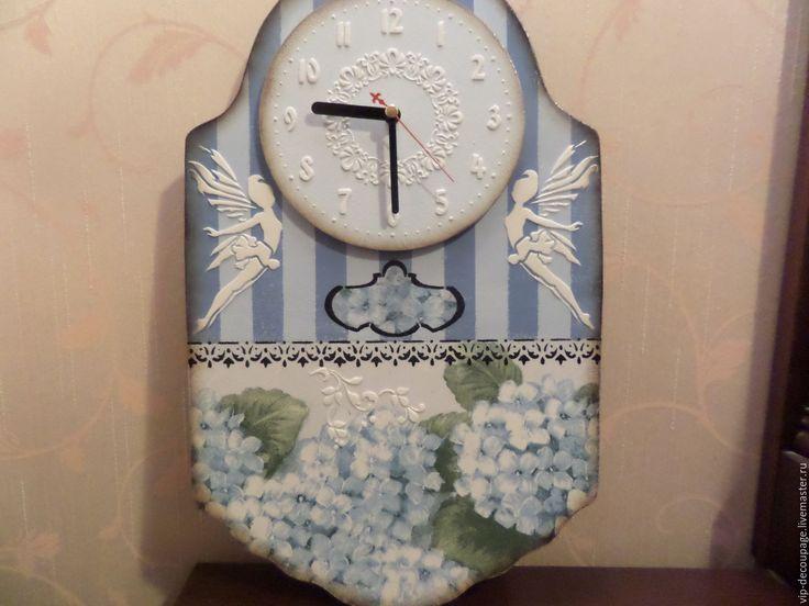 Купить Настенные часы. Голубая гортензия - часы, настенные часы, винтаж, винтажный стиль, гортензия
