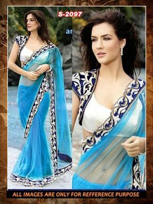 sky ambroidery net party wear saree with blouse Sarees on Shimply.com