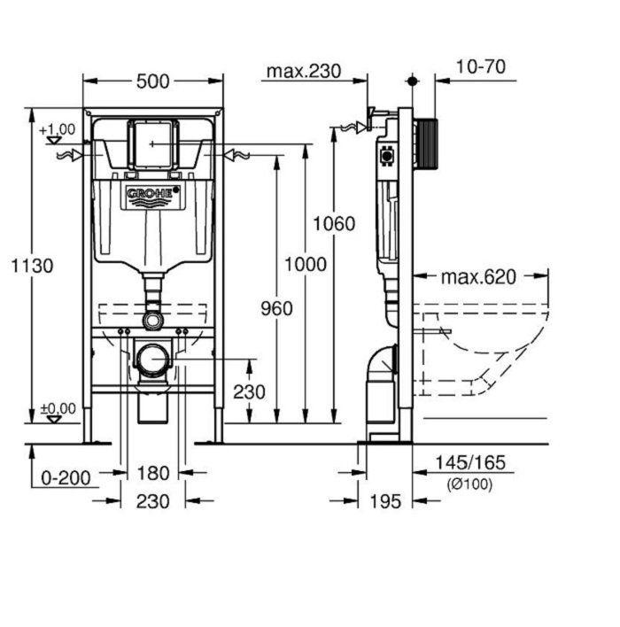 Acheter Un Bati Support Grohe Rapid Sl Wc Autoportant Resistant Wc Suspendu Installation Wc Suspendu Toilette Suspendu