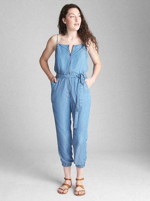 61a2789927 Gap Womens Zip-Front Cami Jumpsuit In Tencel™ Light Wash