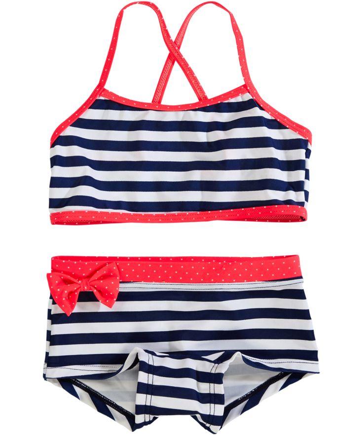 Name It Leuke Marine Gestreepte Bikini met Roos Strikje #emilea