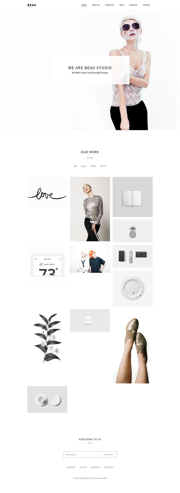 Beau - Minimal Portfolio/Agency WordPress Theme #webdesign Download: http://themeforest.net/item/beau-minimal-portfolioagency-wordpress-theme/13470230?ref=ksioks