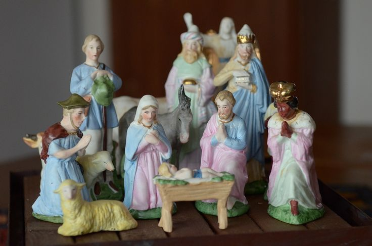 An antique bisque nativity set from Germany.