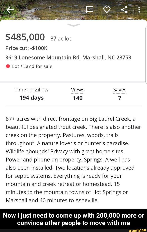 485,000 87 ac lot 3619 Lonesome Mountain Rd, Marshall, NC