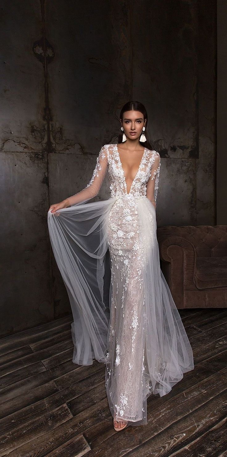 V neck long sleeves heavy embellishment fit and flare wedding dress detachable s…