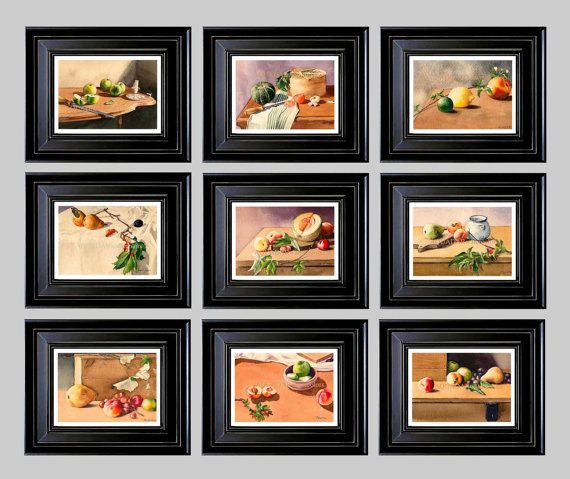 Modern Wall Art for Home Kitchen Decor Restaurant Still Life with Fruits Set of any 9 Prints from Original Watercolor Paintings. $144.00, via Etsy.
