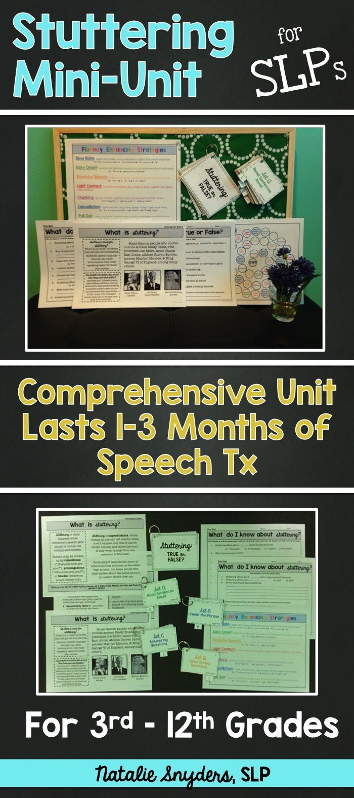 Comprehensive stuttering mini-unit appropriate for upper elementary, middle school, and high school!  HUGE time saver!