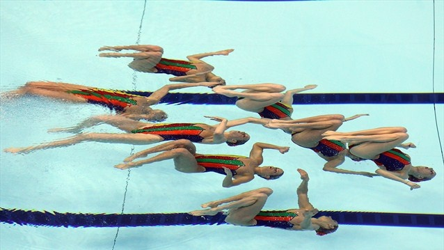 Canada competes in the Women's Teams Synchronised Swimming Free Routine final
