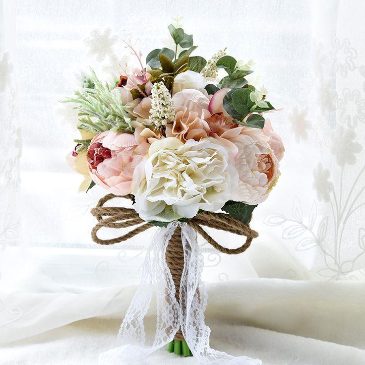 2016 أسلوب الريف الاصطناعي باقة الزفاف للعرائس خارج الرباط الزهور بروش باقة الزفاف باقة دي mariage