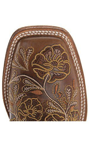 Anderson Bean® Macie Bean™ Women's Whiskey Bent w/ Beige & Gold Toolie Embroidery Square Toe Boots | Cavender's Boot City