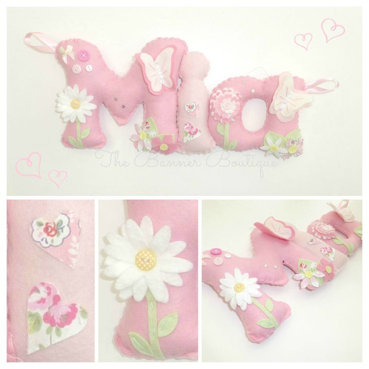 Personalised felt name banner with butterflies and CK fabric…