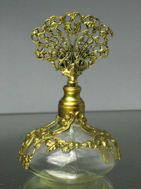 GORGEOUS Antique Ormolu Perfume Bottle -- ORIGINAL TOP AND ORIGINAL BASE. $58.00, via Etsy.