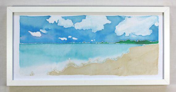 Seascape Wall Art  Beach Silk Painting by NicolaDavisCrafts