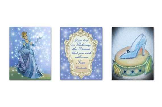 Princess Nursery art Cinderella Wall Art Girls room decor