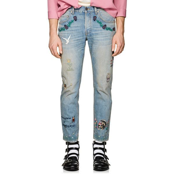 Gucci Men's Embroidered Distressed Slim Jeans ($1,580) ❤ liked on Polyvore featuring men's fashion, men's clothing, men's jeans, mens slim fit ripped jeans, mens destroyed jeans, mens faded jeans, gucci mens jeans and mens distressed jeans #mensjeansslim