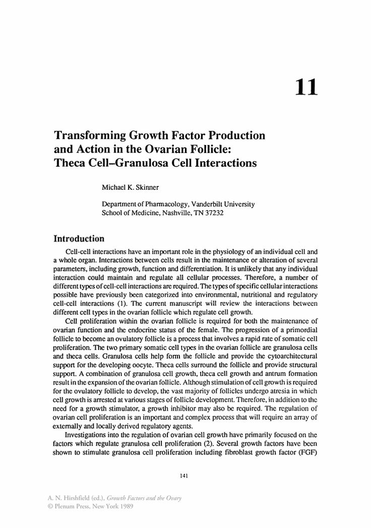 Transforming Growth Factor Production and Action in the Ovarian Follicle: Theca Cell-Granulosa Cell Interactions - Springer