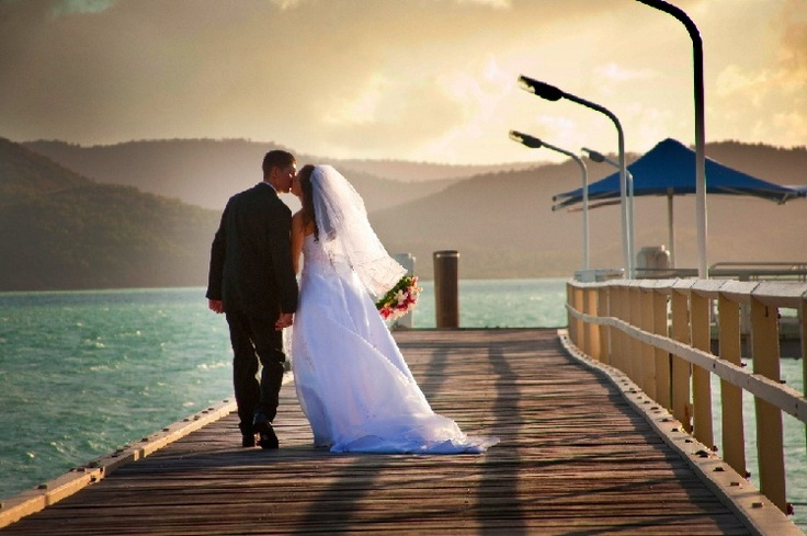 The old jetty on Daydream Island at sunset, makes for spectacular wedding photos