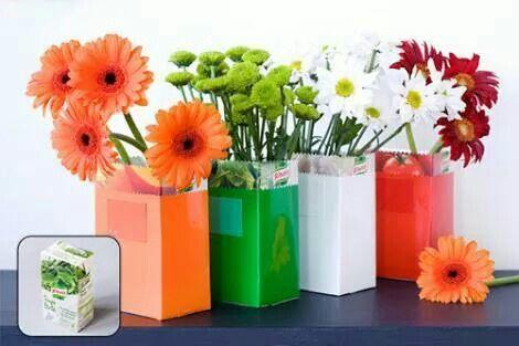 Briques de soupe transformées en vases... ...