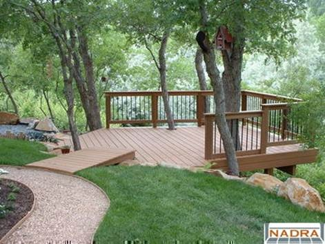 Deck overhang placed to view venue site perfect for for Pre built porches