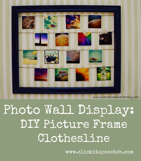 Photo Wall Display - DIY Picture Frame Clothesline via Click it Up a Notch. September 5, 2013. http://clickitupanotch.com/2013/09/photo-wall-display-diy-picture-frame-clothesline/