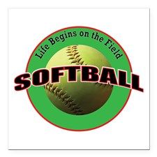 """$7.99 - Life Begins Softball Square Car Magnet - by #RGebbiePhoto @ #cafepress - #Softball #Sport #Game - Illustrated softball logo style design with a used, worn yellow softball photograph at center with the words """"Life Begins on the Field"""" and the word """"Softball"""" in large text."""