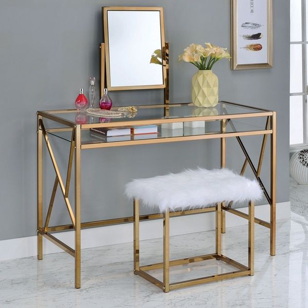 Furniture of America Ailees Contemporary Glam 2-piece Vanity Table Set with Faux Fur Stool