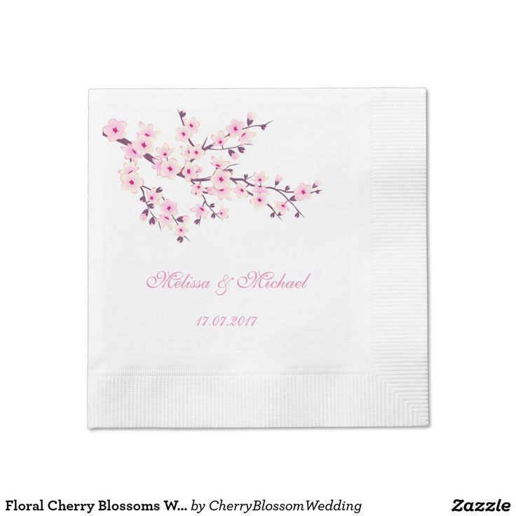 Simple and elegant cherry blossoms coined wedding cocktail napkins