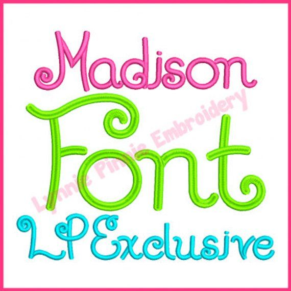 Madison Font Embroidery Design Machine Applique Letters
