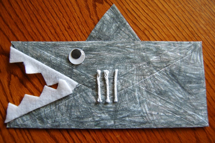 Shark from envelope – great for Ocean Unit! {This craft was adorable! The kids l