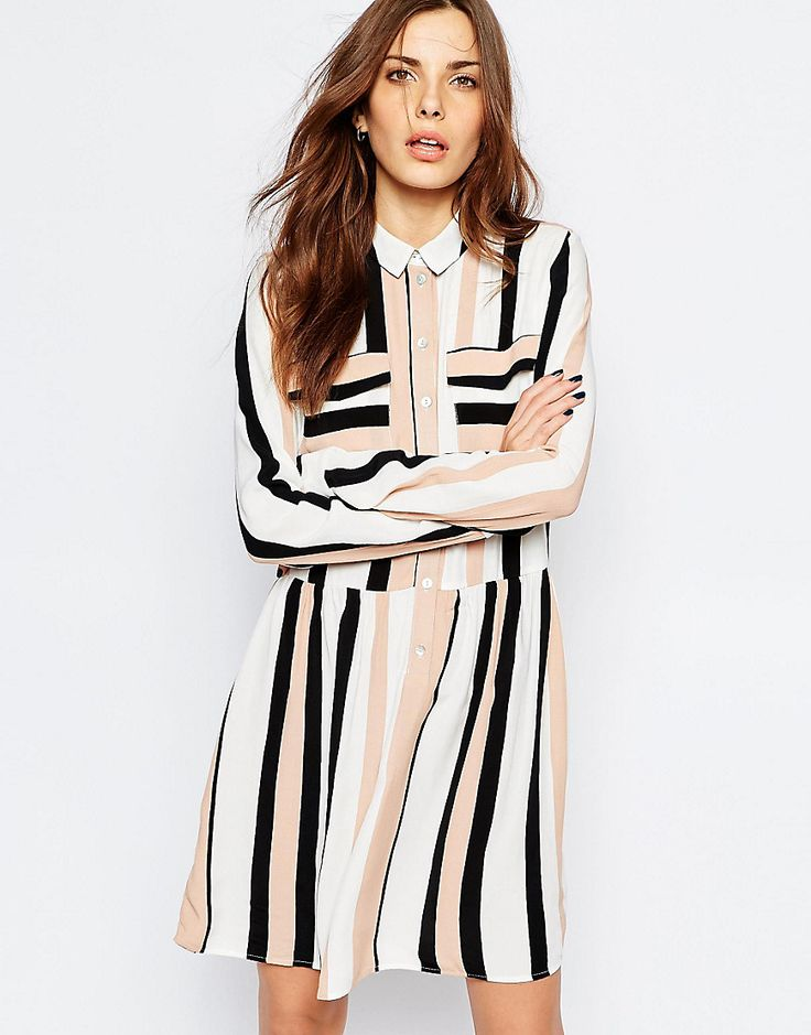 Vila+Stripe+Drop+Waist+Dress