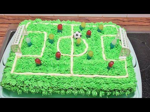 2 stöckige Torte Fußball Torte Fußballfeld Torte 3D Sahne Torte Anleitung Deutsch - YouTube