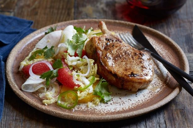 Pan-roasted pork cutlets with citrus salad main image