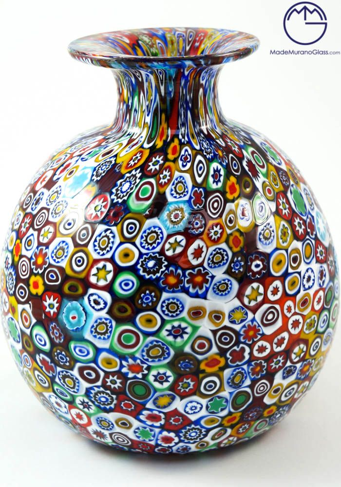 All #venetian #glass #vases shaped like a ball that you will find on the site #Made #Murano #Glass are made with #murrine millefiori and #blown with great skill by #famous Murano #artisans
