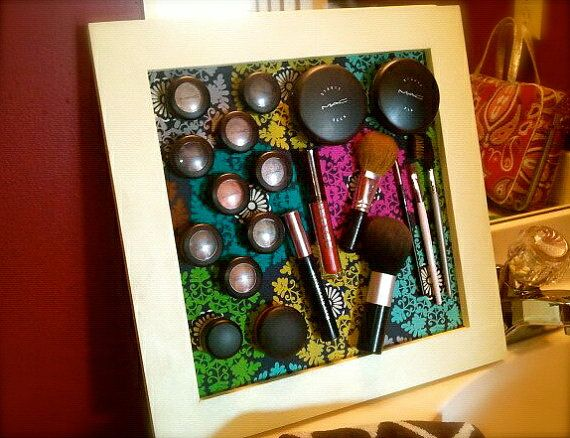 Magnetic makeup frame...love it! hang in the bathroom but looks like art at the same time.