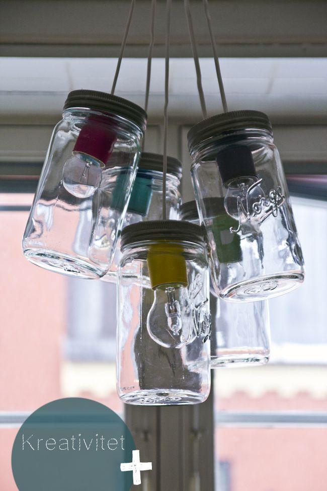 Hjemmelaget lampe av Norgesglass