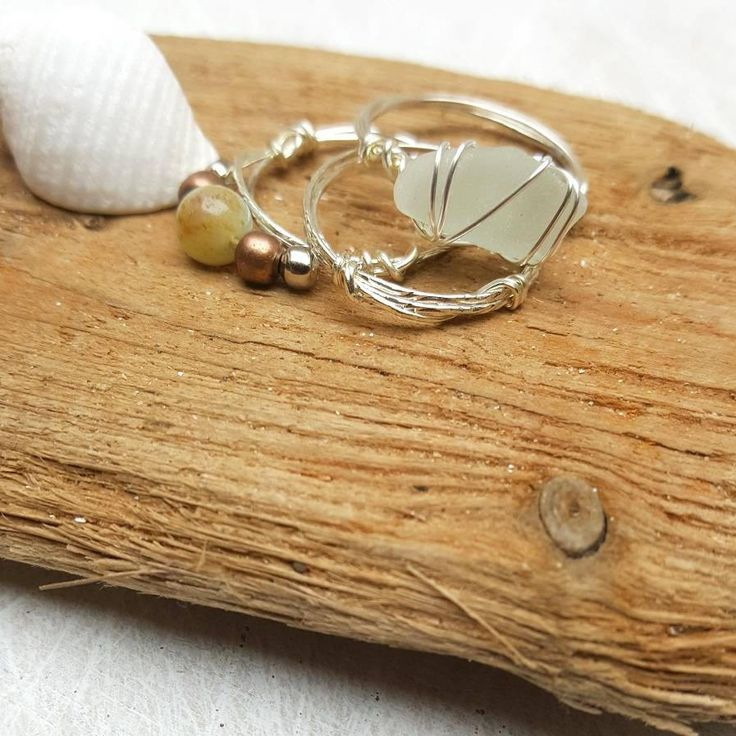This boho style rustic seaglass stacking ring set is romantic and earthy. I know that so many people, like me, feel the call of the sea and the salty breeze in their soul. My aim is to bring a little slice of that romantic ocean escape to my customers ♡ ------------------------------------------