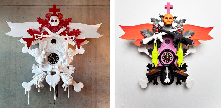 <p>Stefan Strumbel exaggerates the traditional cuckoo clock with elements of urban art and pop art. Five years ago he decided to stop painting graffiti and concentrated on his art. Mostly known for hi