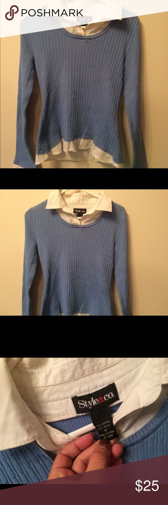 NwO Style&Co Preppy M w/collar&folding sleeves Style&Co Preppy SzM w/collar&folding sleeves NWOT perfect find gorgeous shirt & PERFECT No flaws noted!!  HOLIDAY GIFT Style & Co Sweaters