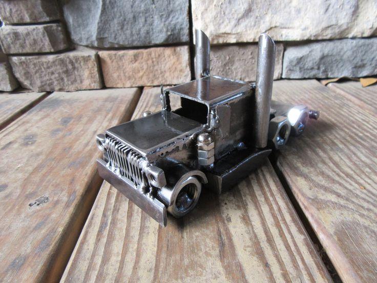 Handmade Metal Art Semi Truck Made From Heavy Steel