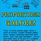 """Here it is at last – everything you need to introduce students to proportion concepts and ensure they understand and retain them! Contains a """"Warm-up"""" activity, a pictorially illustrated """"Guided Notes"""" worksheet, concept-cementing """"Math Poetry"""", and a two-page """"Proportions Worksheet"""". This $1.50 product is part of a series of six products on ratios, rates, and proportions. A bundled package containing all six products, """"Ratios, Rates, and Proportions Galore!"""", is also available for purchase."""