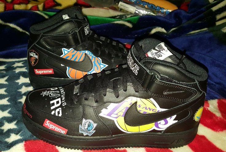 Supreme X Nike X NBA  team logos 2007 AF1 Air Force One in Black sz.11 S/S18  #SupremexNikexNBA #BasketballShoes