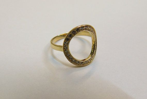 14K Solid Gold Ring Round Open Circle Ring w Clear by SoCoolCharms